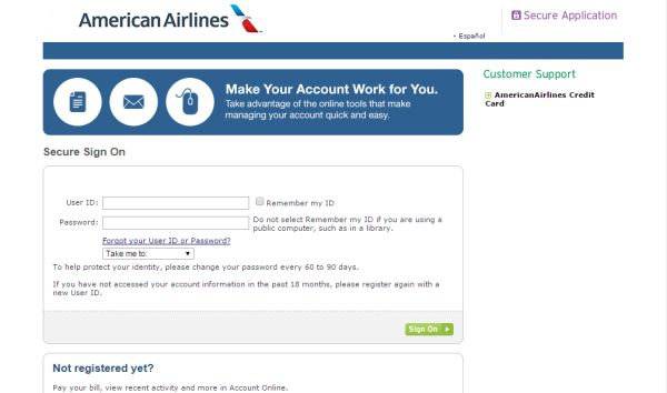 American Airlines Credit Card Login