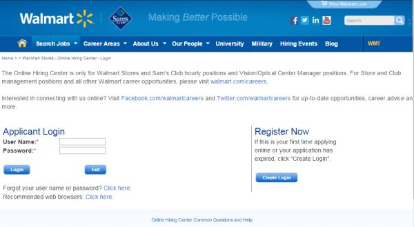 Walmart Careers Login