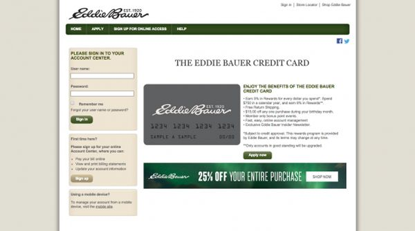 Eddie Bauer Credit Card Login