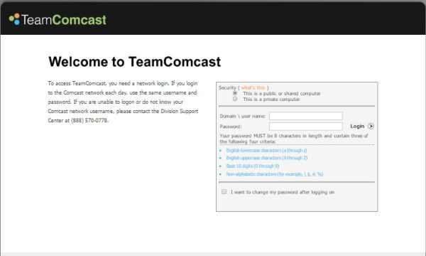 TeamComcast Portal Login