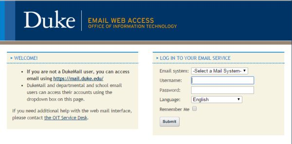 Duke Webmail Login